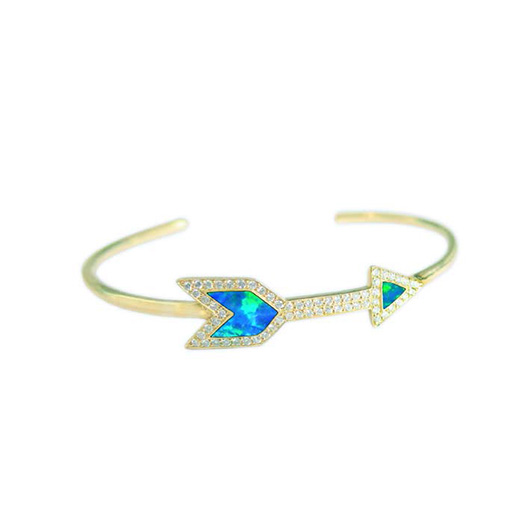 Inlay Arrow cuff in 18k gold with opal and diamonds by Jennifer Meyer
