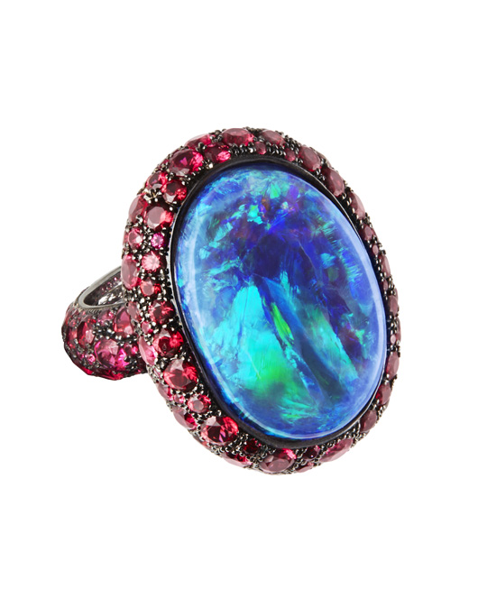 Katherine Jetter opal and red spinel ring