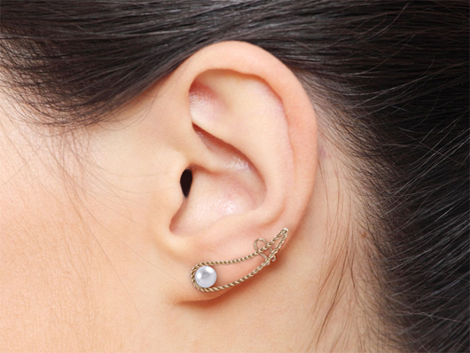 Jewelmak climber-style earring with post and cuff on the ear