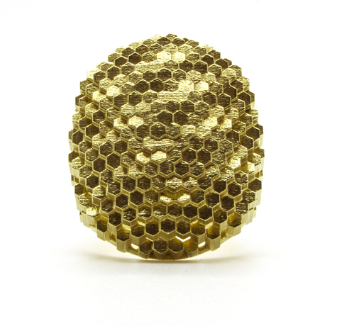 Flat Oval Hex ring in 18k yellow gold, $5,500; Jo Hayes Ward