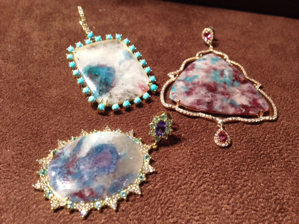 Earrings in 18k gold with Paraiba tourmaline and gemstones by Jordan Scott Designs