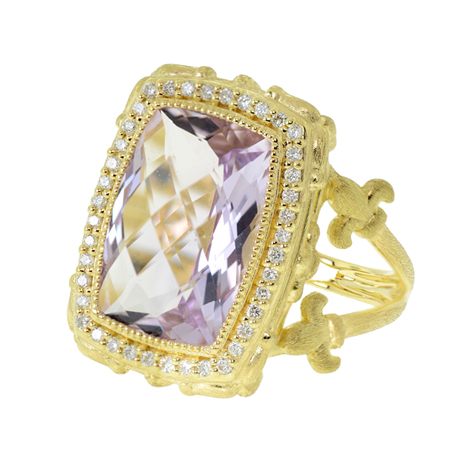 Jude Frances ring in 18k gold with Rose de France amethyst and diamonds