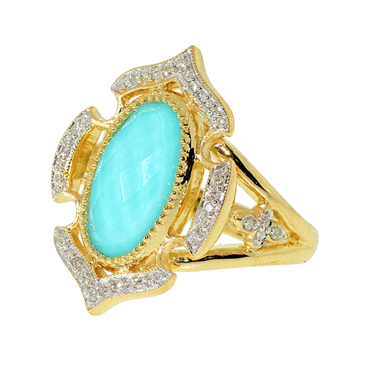 Ring in 18k gold wtih turquoise doublet and diamonds from Jude Frances