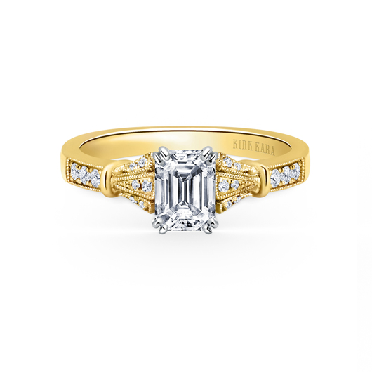 Engagement semi-mount in 18k gold from the Lori colleciton by Kirk Kara