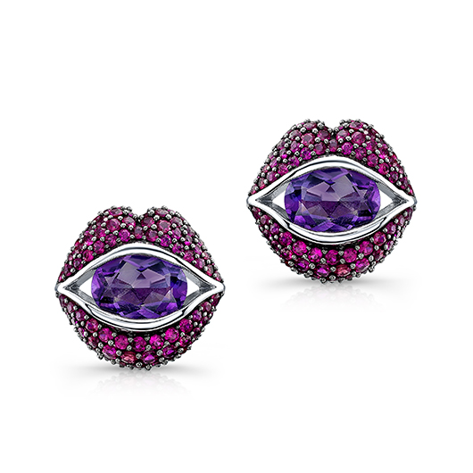 Loretta Castoro's Kiss Me stud earrings in 18k gold with amethysts and rubies