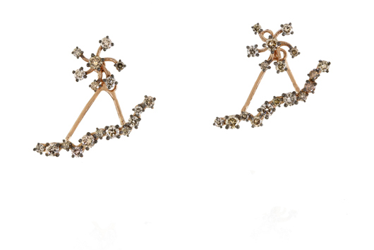 Stud earring and jacket in 18k gold with baguette-cut champagne-color diamonds by Suzanne Kalan