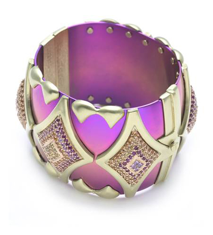 Geometric cuff in pink titanium, 18k yellow gold, diamonds and multi-colored sapphires by Kara Ross