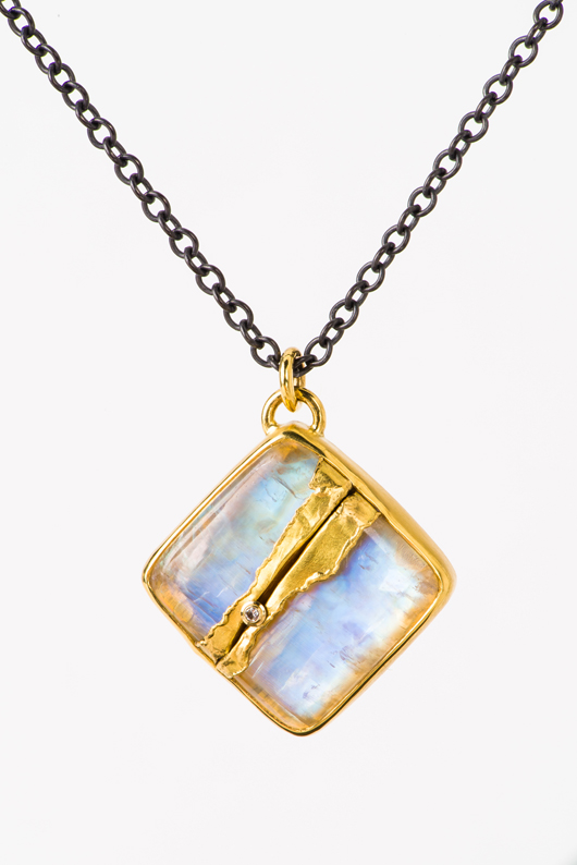 New Golden Joinery Rainbow moonstone pendant necklace inspired by Japanese kintsugi by Jamie Joseph