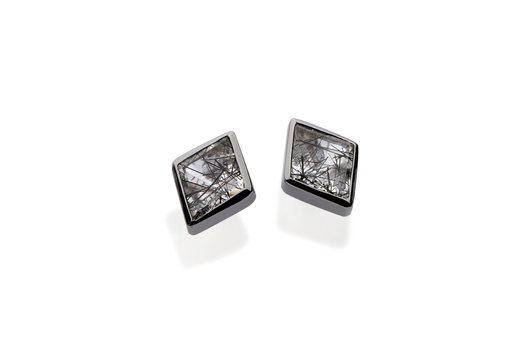 Kite Tri Stud earring in 18k gold with black rhodium and rutilated quartz by Yael Sonia in her new men's jewelry collection