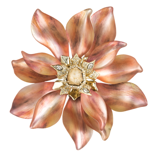 Desert Jasmine Large Flower pin in lucite with crystals and chrysocola from Alexis Bittar