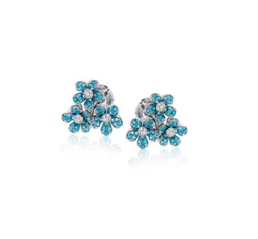 Paraiba earrings in gold with diamonds from Simon G.