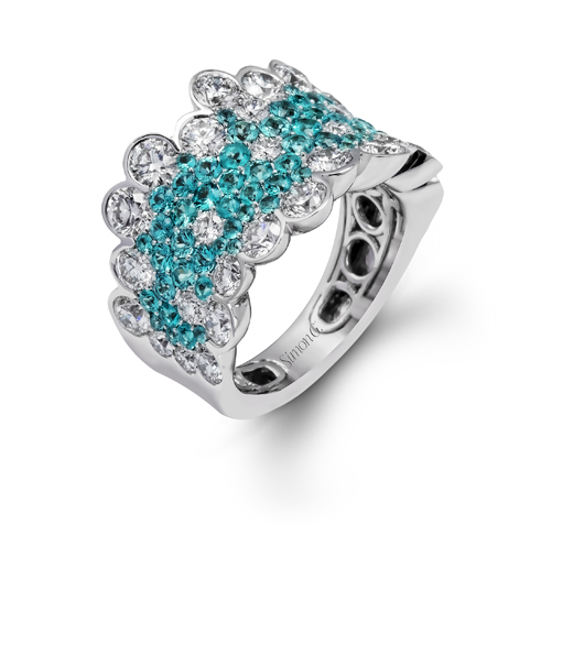 Ring in gold with Paraiba and diamonds from Simon G.