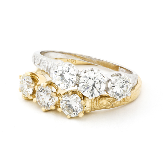 Ludlow three-stone rings in 14k gold with 0.88 ct. t.w. diamonds, $3,640 apiece, by Bernard Nacht