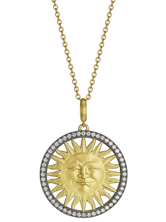 Sun Face pendant necklace in gold from Anthony Lent