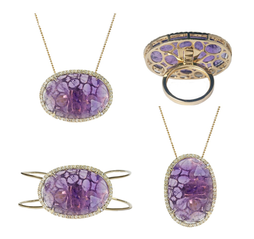 Lily in 14k gold with 22.39 ct. amethyst and .77 cts. t.w. diamonds converts to a necklace, ring, and pendant, $4,440; Meredith Marks