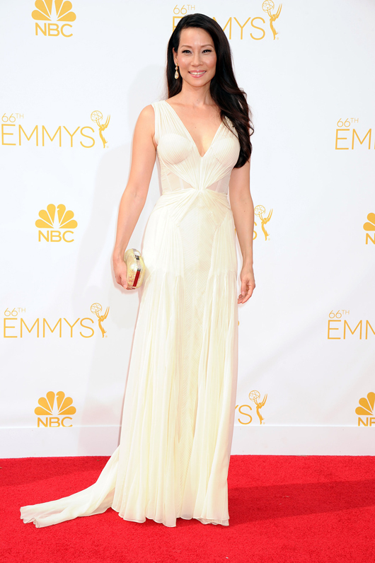 Lucy Liu in Lorraine Schwartz jewelry at the 2014 Emmys