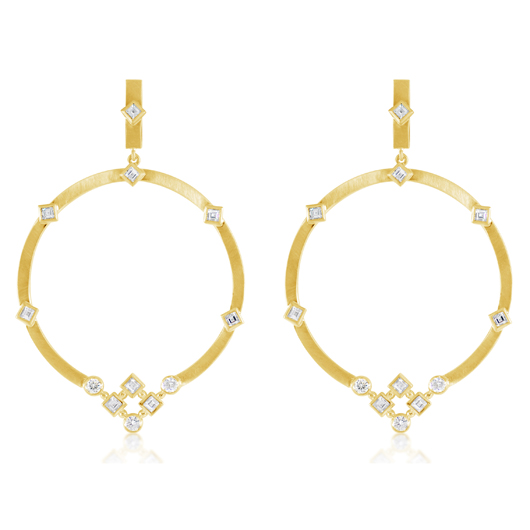 Hoop earrings in 18k gold with diamonds from Malibu 18, a collaboration between Irit Design and Rahaminov Diamonds