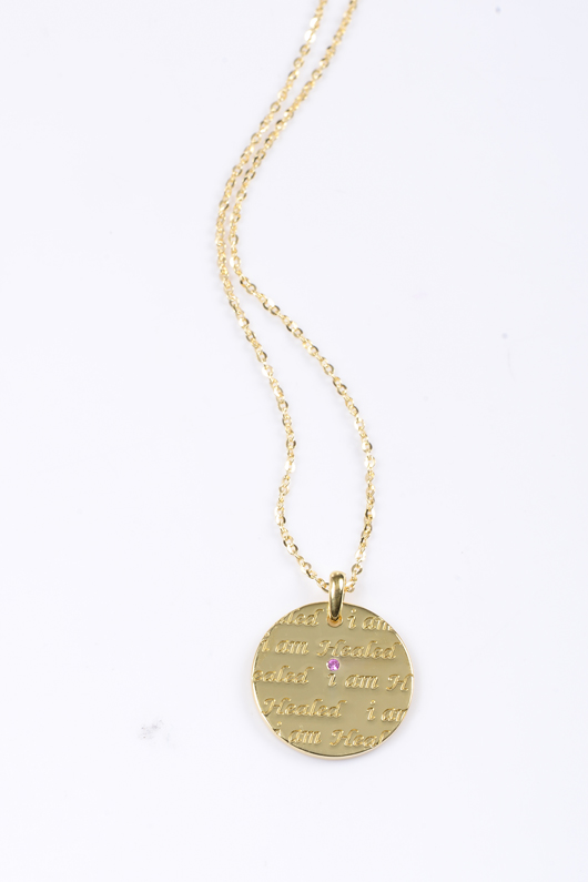 Mary Margrill's 14k gold I Am Healed pendant necklace benefits breast cancer research