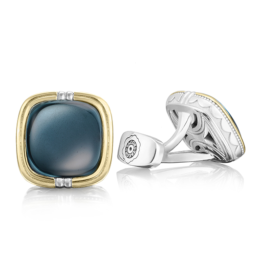 Tacori new men's cufflinks in silver, gold, and hematite