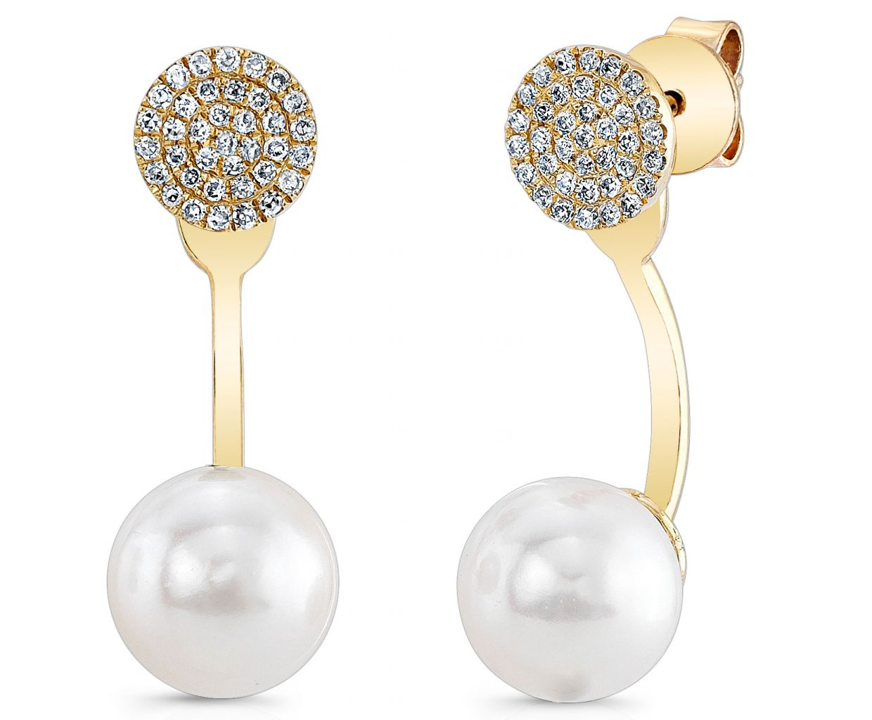Majolie Collections pearl and diamond earring jackets
