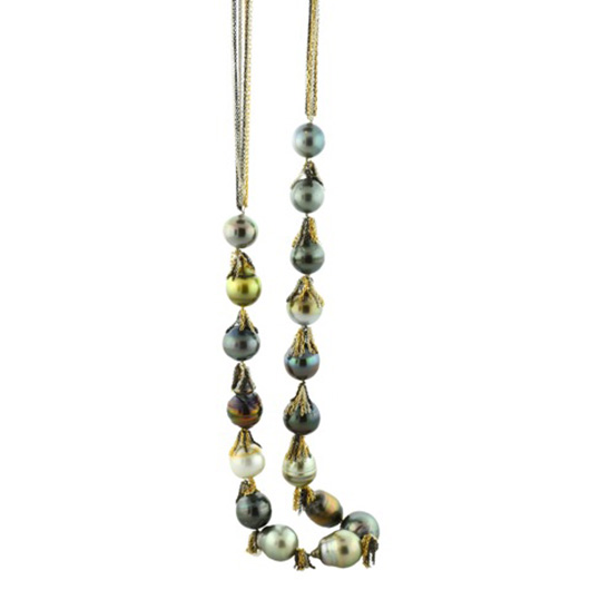 Fringe necklace in 14k gold with South Sea pearls from Mabel Chong