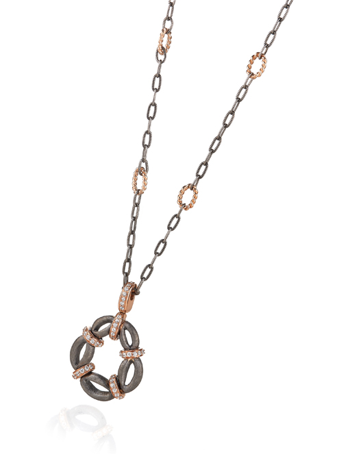 Pendant necklace in Argentium silver with black rhodium and ceramic, 14k rose gold, and diamonds by Makur