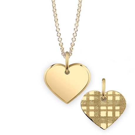 Mannin Fine Jewelry 22k gold-plated silver Heart necklace with tartan motif on one side