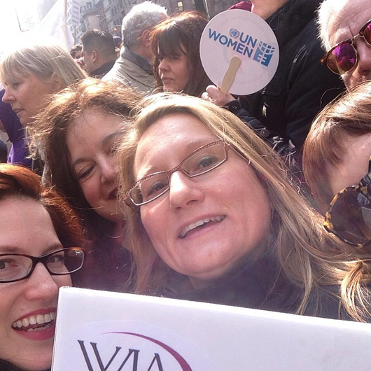 WJA Metro chapter members at the UN's March in March on Sunday, March 8, in Manhattan