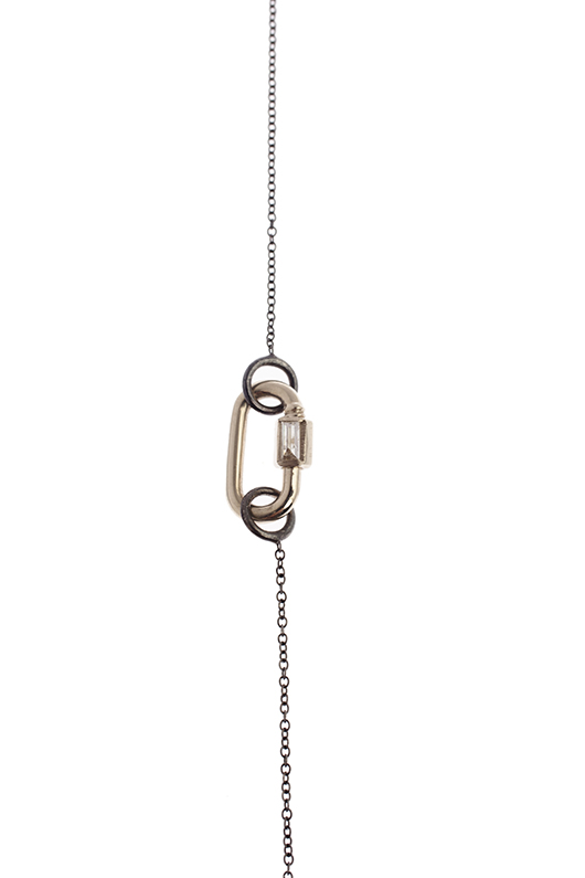 Marla Aaron lock necklace with diamond baguette
