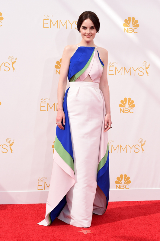Michelle Dockery at the 2014 Emmys in gold jewelry from Ana Khouri