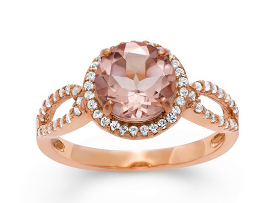 Ring in 10k rose gold with morganite and diamonds from the David Tutera for Fuzion Creations