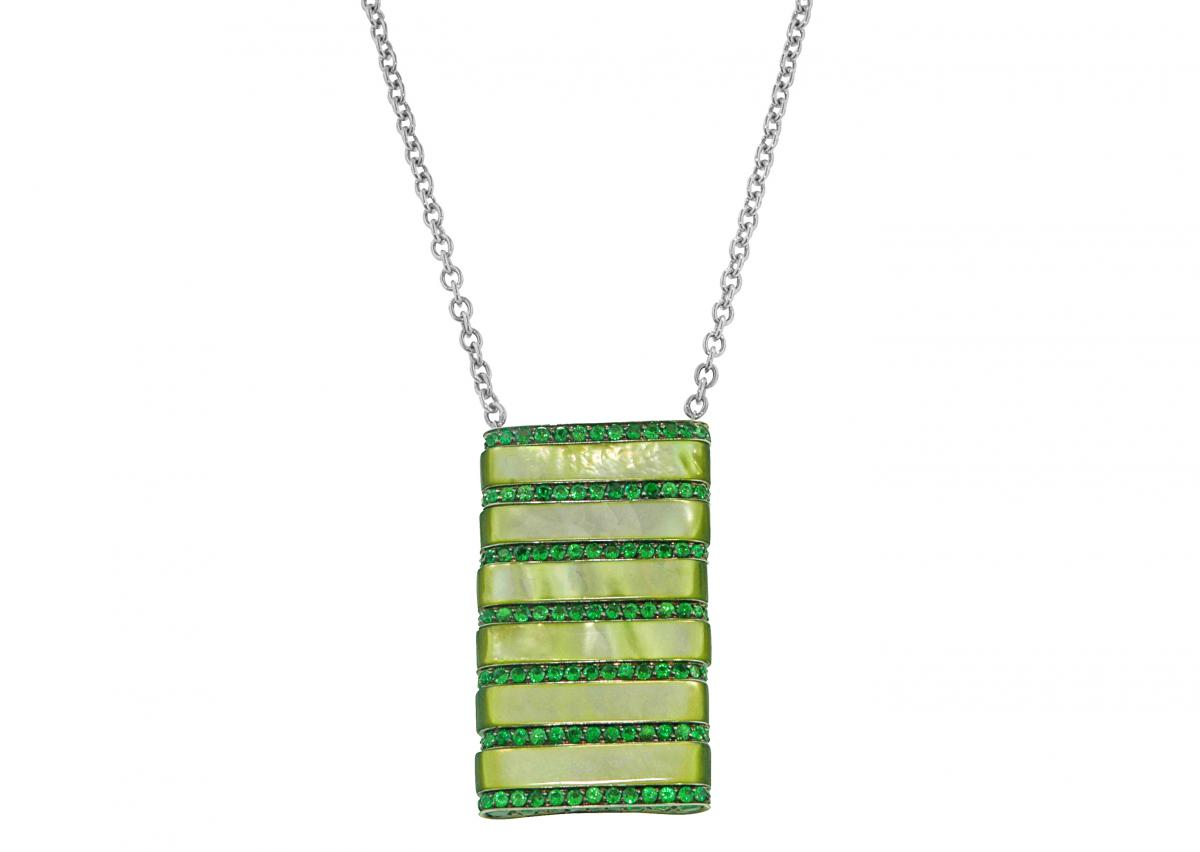 Andreoli striped tsavorite and mother-of-pearl pendant