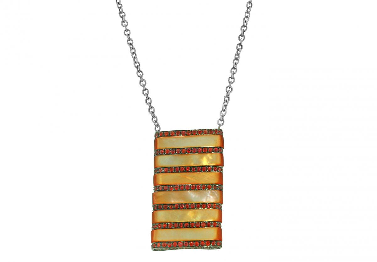 Andreoli orange sapphire and mother-of-pearl stripe pendant