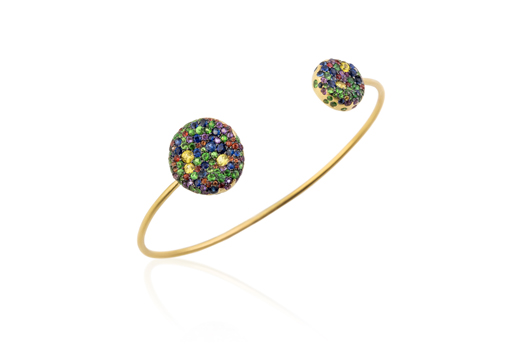 Malak open cuff in 18k gold with colored sapphires from Nada G.