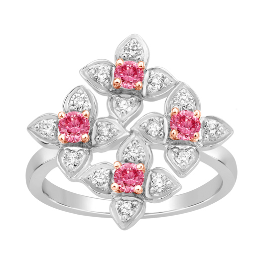 Ring in gold with pink and colorless diamonds by Kama Schachter