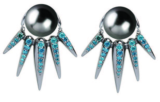 Earrings and jacket in 18k gold wtih Tahitian pearls and color-enhanced blue diamonds by Nikos Koulis