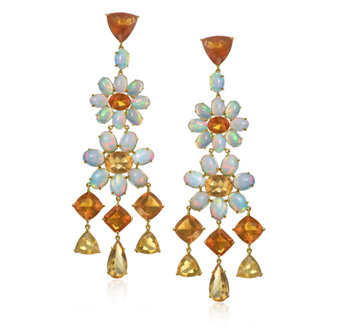 Nina Runsdorf gold drop earrings with white and fire opals
