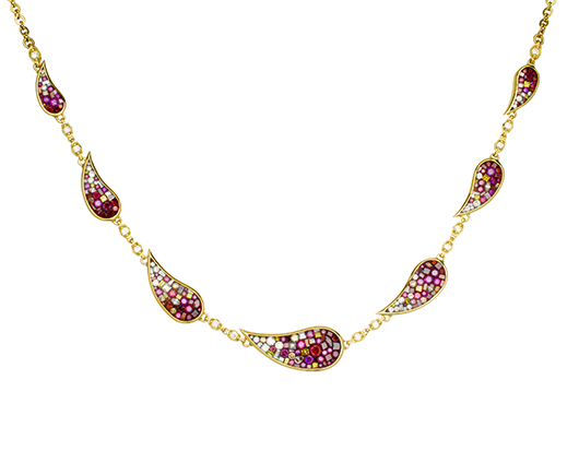 Pleve mosaic necklace with color-enhanced diamonds for $14,960