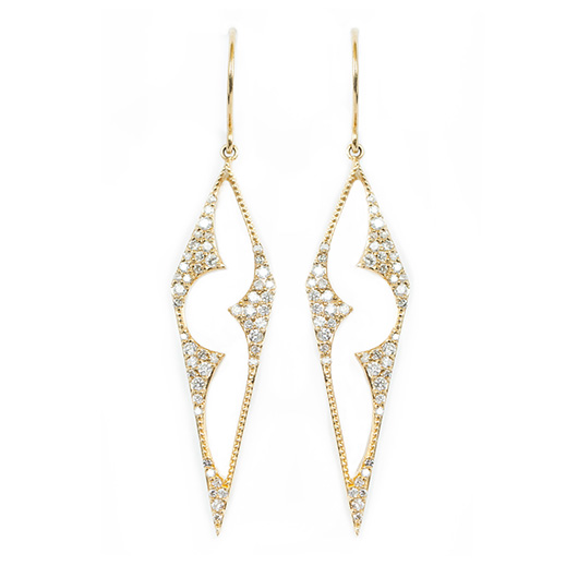 Lara earrings in 14k gold with diamonds from One Jewelry