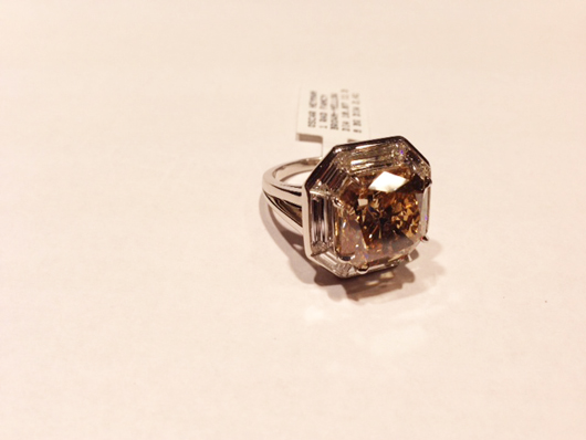 Brown and colorless diamond ring from Oscar Heyman