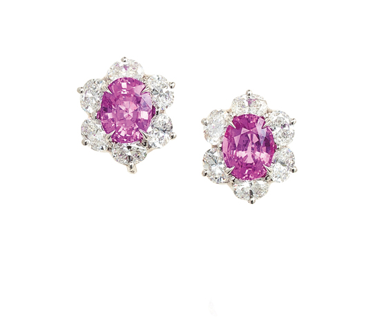 Oscar Heyman pink sapphire and colorless diamond earrings in platinum benefit breast cancer research