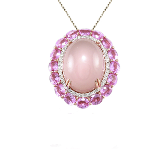 Estenza necklace with pink quartz, pink sapphires, and diamonds