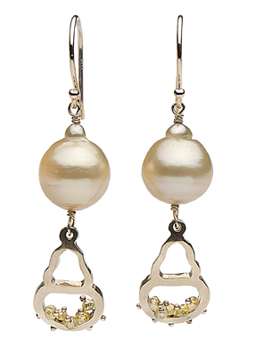 Baroque pearl silhouettes in gold with baroque pearls and gemstones by Little h by Hisano Shepherd