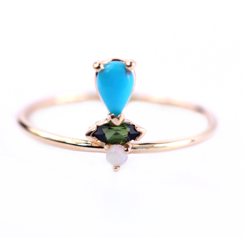 Petra ring in 14k gold with turquoise, tourmaline, and opal by Katie Diamond