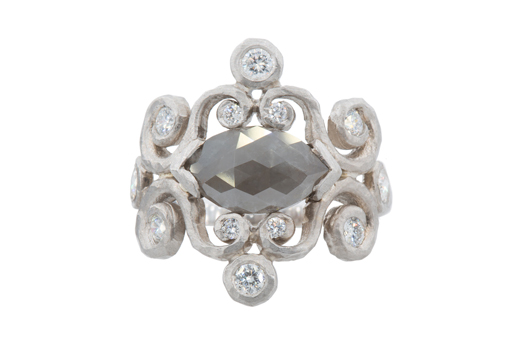 Antique Crush engagement ring in 18k gold with a gray marquise-cut center stone and colorless diamonds by Pamela Froman