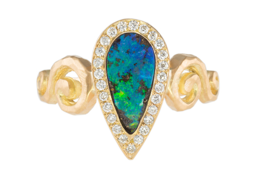 Opal ring with diamonds by Pamela Froman