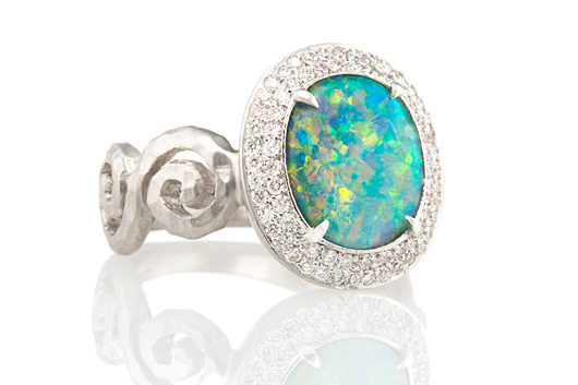 Pamela Froman opal engagement ring with diamonds in gold