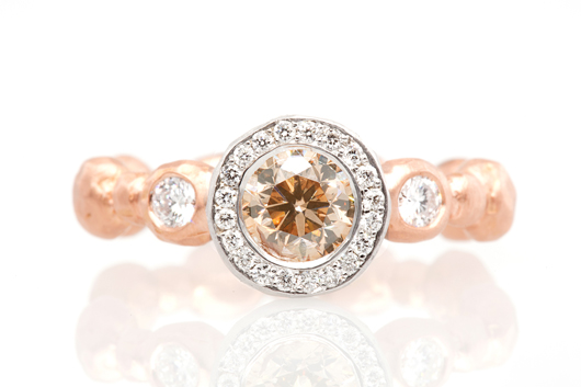Pamela Froman pink diamond ring in 18k gold with diamonds