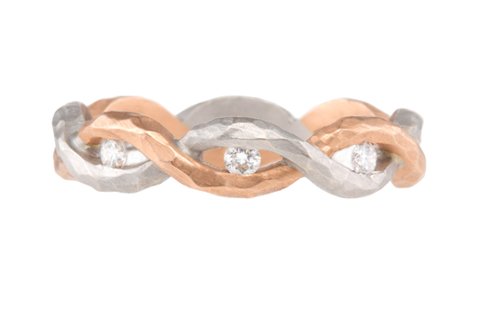 Twisted Crush Eternity band in 18k pink and white Crushed gold with 0.24 ct. t.w. diamonds, $2,860, by Pamela Froman