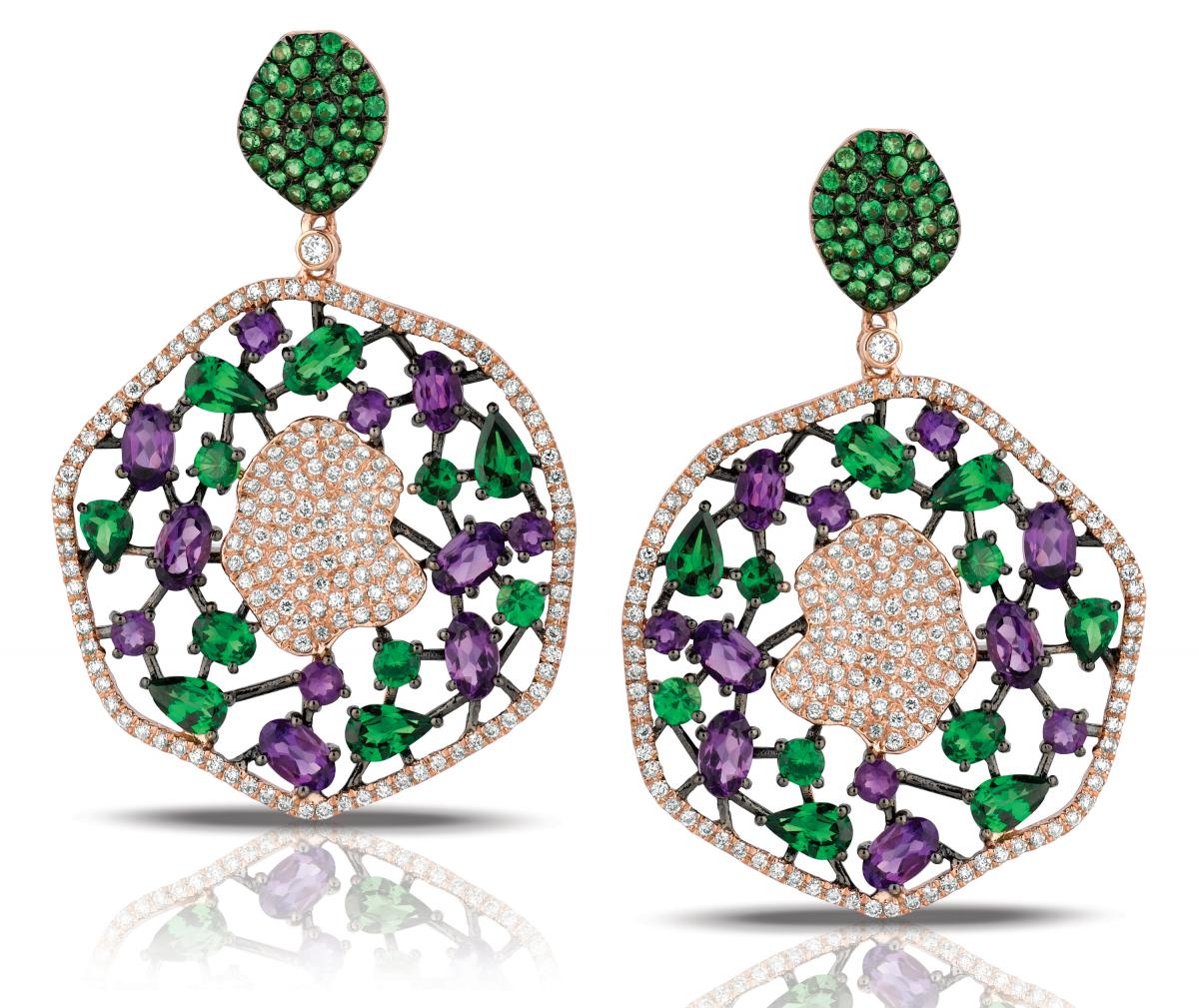 Marco Moore amethyst and green garnet earrings